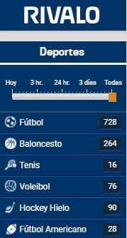 Elige tu deporte favorito en RIvalo Chile